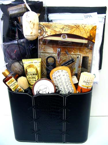 GB217 ''Shower Him With Love''  Men's Gift Basket in Oklahoma City OK, Array of Flowers & Gifts