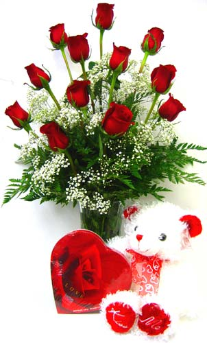 FF72 ''Say it With Love'' Roses, Bear & Chocolates in Oklahoma City OK, Array of Flowers & Gifts