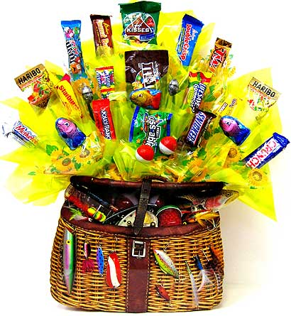CB195 ''Fishing Creel'' Candy Bouquet in Oklahoma City OK, Array of Flowers & Gifts