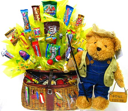 CB196 ''Fishing Bear'' Candy Bouquet in Oklahoma City OK, Array of Flowers & Gifts