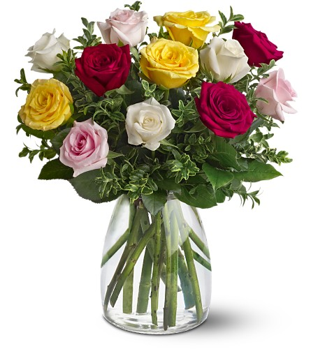 A Dozen Mixed Roses in Prince George BC, Prince George Florists Ltd.