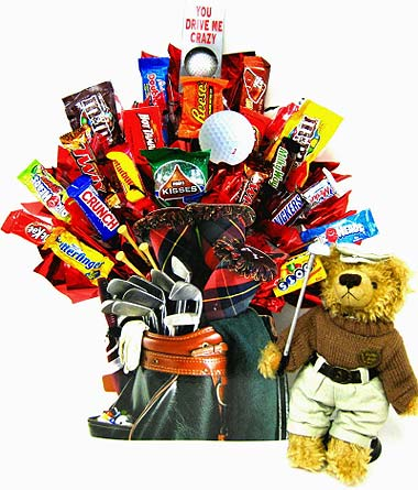 CB202 ''Golfer Bear'' Candy Bouquet in Oklahoma City OK, Array of Flowers & Gifts