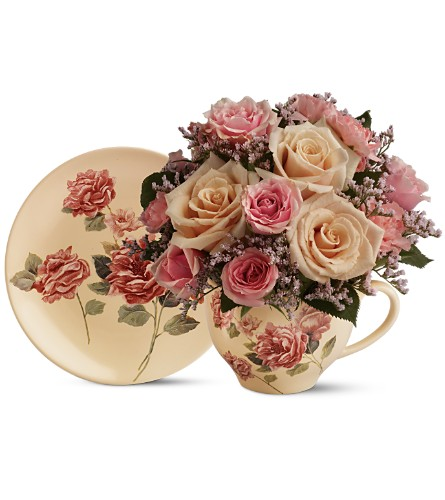 Teleflora's Victorian Teacup Bouquet in Woodbridge NJ, Floral Expressions