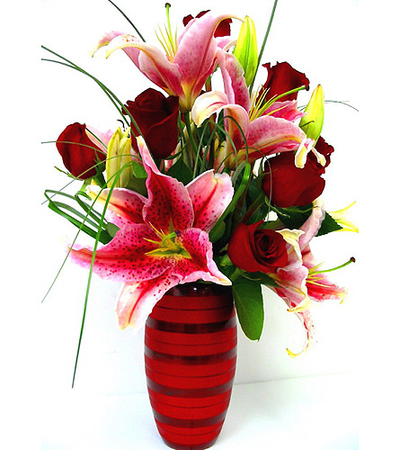 FF100 ''Stargazers & Roses'' Vase Arrangement in Oklahoma City OK, Array of Flowers & Gifts