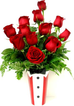 FF106 ''Blooming Tuxedo'' Rose Arrangement in Oklahoma City OK, Array of Flowers & Gifts
