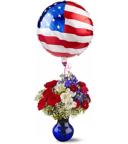 Red, White and Balloon Bouquet in Tacoma WA, Tacoma Buds and Blooms formerly Lund Floral