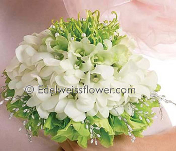 Green & White Bridal Bouquet in Santa Monica CA, Edelweiss Flower Boutique