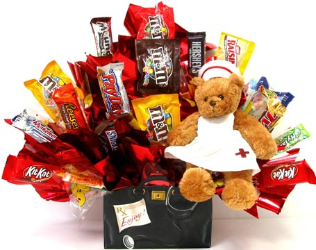 CB246 ''Nurse Bear'' Candy Bouquet in Oklahoma City OK, Array of Flowers & Gifts
