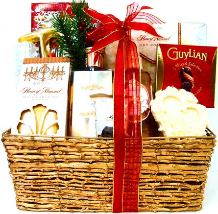 XGB117 ''Golden Sentiments'' Bath & Body Basket in Oklahoma City OK, Array of Flowers & Gifts