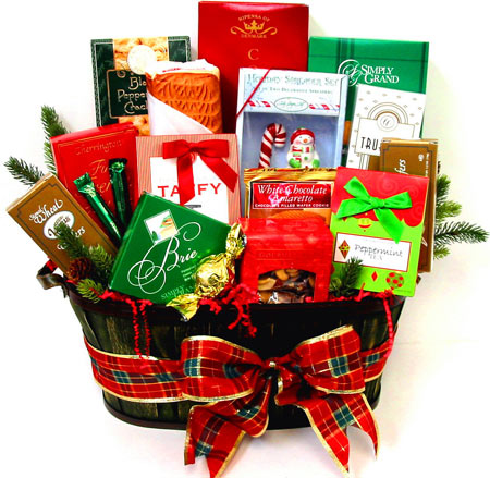 XGF123 ''Cheerful Greetings'' Holiday Gourmet Basket in Oklahoma City OK, Array of Flowers & Gifts