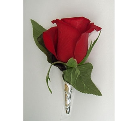 Single Rose Boutonniere Red Silver In Indianapolis In