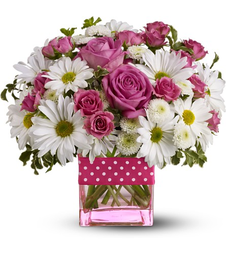 Teleflora's Polka Dots and Posies - Deluxe in Cambria Heights NY, Flowers by Marilyn, Inc.
