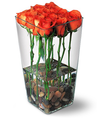 Orange Roses with River Rocks in Bend OR, All Occasion Flowers & Gifts
