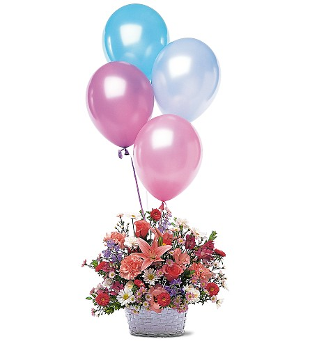 Birthday Balloon Basket in usa-send-flowers NJ, Stanley's America's Florist & Gifts