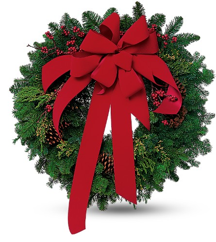 Wreath with Red Velvet Bow in Brampton ON, Flower Delight