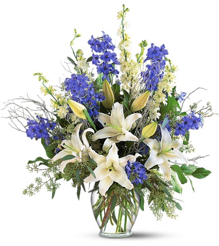 Sapphire Miracle Arrangement in Belford NJ, Flower Power Florist & Gifts