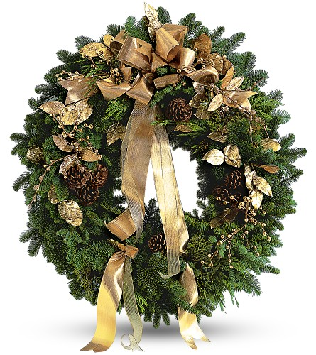 Golden Evergreen Wreath in Kentfield CA, Paradise Flowers