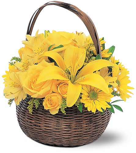 Yellow Flower Basket in Broomall PA, Leary's Florist