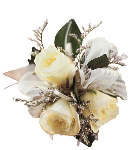 3 White Mini Roses Wristlet in Big Rapids MI, Patterson's Flowers, Inc.