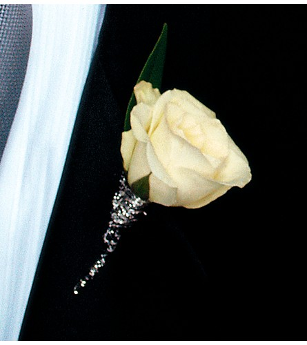 View Larger. White Rose Boutonniere ...