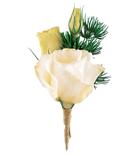White Lisianthus Boutonniere in Orlando FL, Harry's Famous Flowers
