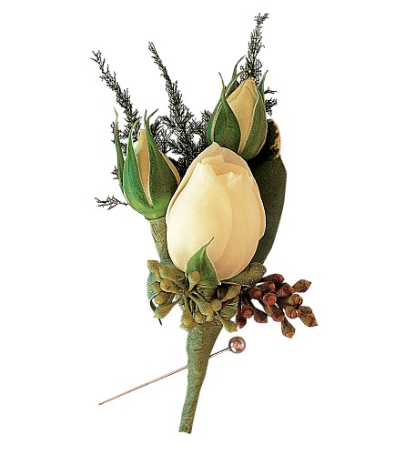 White Spray Rose Boutonniere in Big Rapids MI, Patterson's Flowers, Inc.