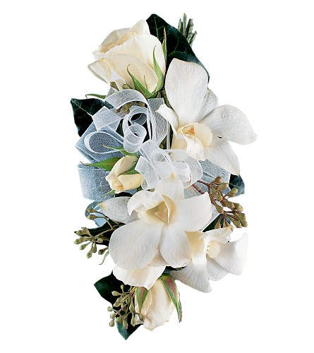 White Rose and Orchid Corsage in Tempe AZ, Bobbie's Flowers