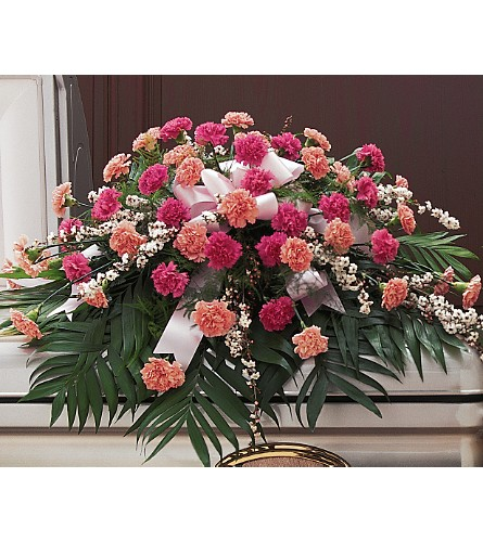 Delicate Pink Casket Spray in Oklahoma City OK, Array of Flowers & Gifts