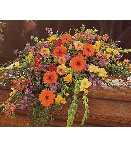 Summer Sentiments Casket Spray in Oklahoma City OK, Array of Flowers & Gifts