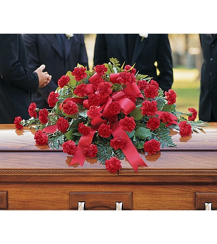 Red Regards Casket Spray in Big Rapids MI, Patterson's Flowers, Inc.
