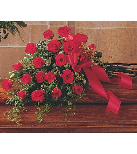 Red Rose Tribute Casket Spray in DeKalb IL, Glidden Campus Florist & Greenhouse