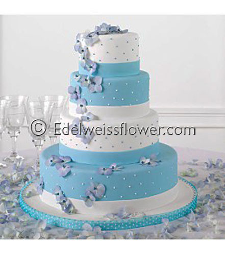 Blue Hydrangea Wedding Cake Flowers in Santa Monica CA, Edelweiss Flower Boutique
