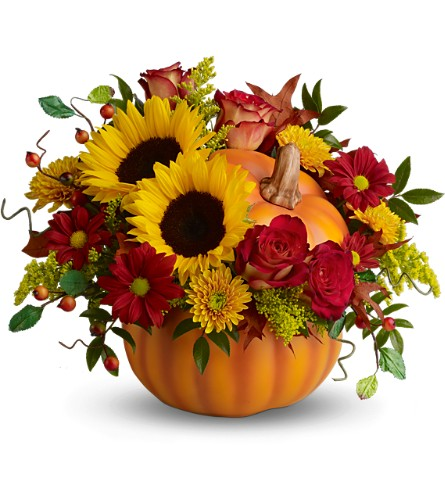 Teleflora's Pretty Pumpkin Bouquet - Deluxe in Oklahoma City OK, Array of Flowers & Gifts