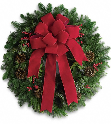 Classic Holiday Wreath in Bakersfield CA, White Oaks Florist