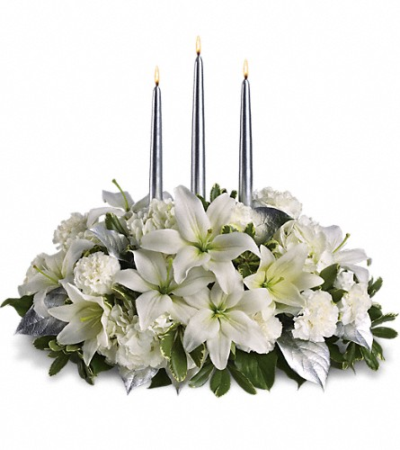Silver Elegance Centerpiece in Fairfield CT, Tom Thumb Florist
