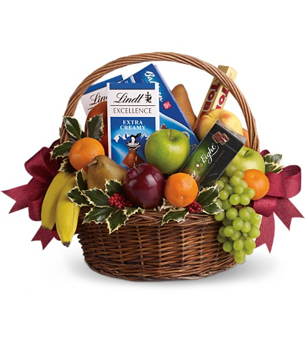 Fruits and Sweets Christmas Basket in Arlington TX, Country Florist