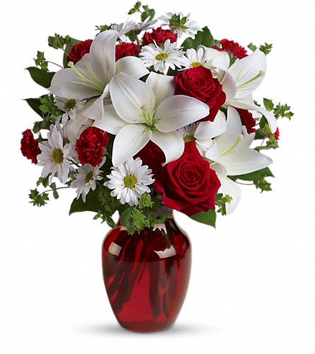 Be My Love Bouquet with Red Roses in Lewiston ME, Val's Flower Boutique, Inc.
