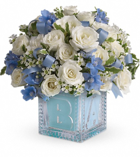 Baby's First Block by Teleflora - Blue in Federal Way WA, Buds & Blooms at Federal Way