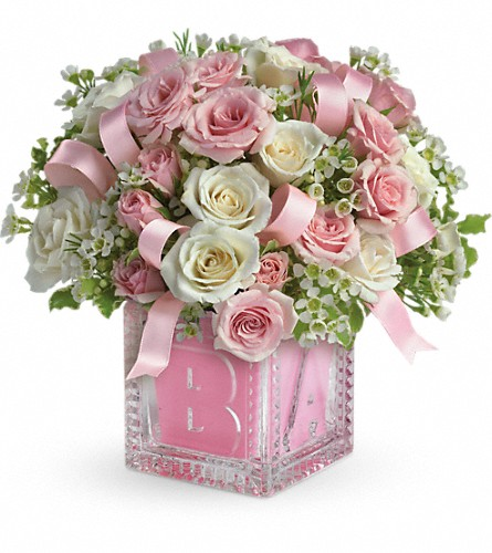 Baby's First Block by Teleflora - Pink in Royersford PA, Three Peas In A Pod Florist