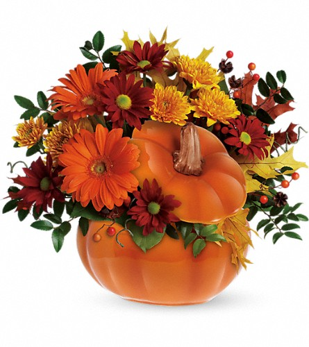 Teleflora's Country Pumpkin in Brooklyn NY, Artistry In Flowers