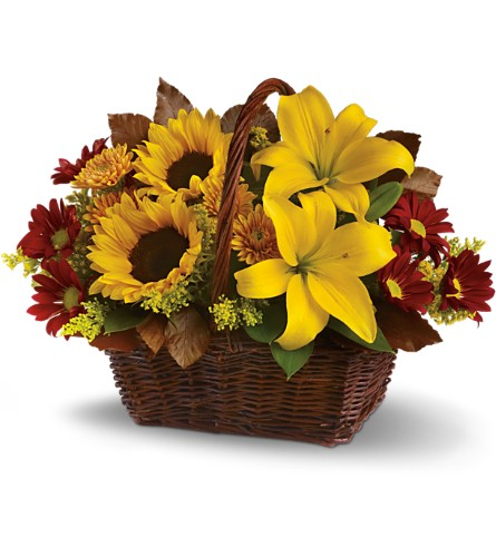 Golden Days Basket in Spring TX, A Yellow Rose Floral Boutique