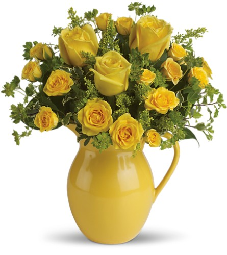 Teleflora's Sunny Day Pitcher of Roses in Warwick RI, Yard Works Floral, Gift & Garden