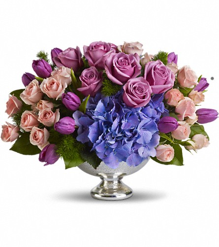 Teleflora's Purple Elegance Centerpiece in Reading PA, Heck Bros Florist