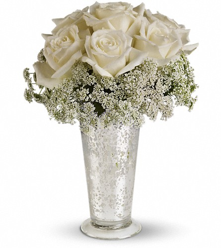 Teleflora's White Lace Centerpiece in Liverpool NY, Creative Florist