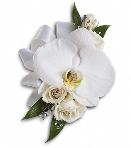 White Orchid and Rose Corsage in Bakersfield CA, White Oaks Florist