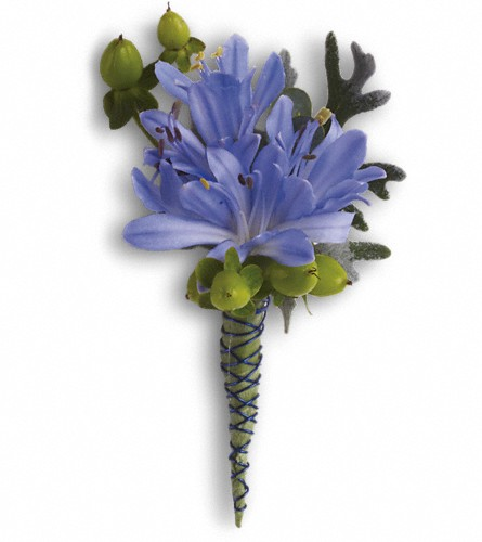 Bold and Blue Boutonniere in West Chester OH, Petals & Things Florist