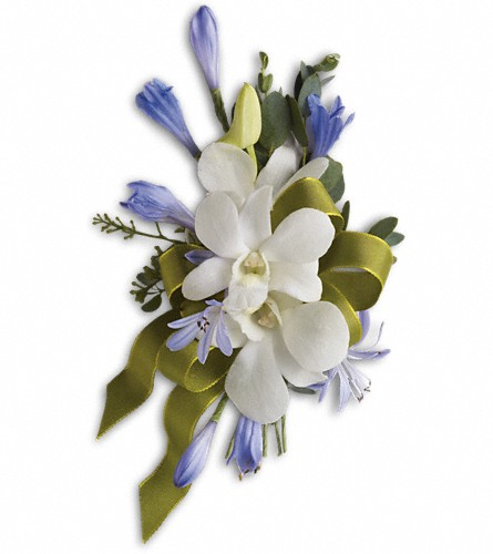 Blue and White Elegance Corsage in East Point GA, Flower Cottage on Main