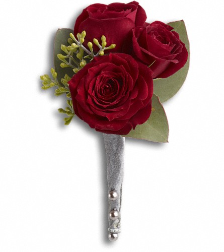 King's Red Rose Boutonniere in Edmonton AB, Petals For Less Ltd.