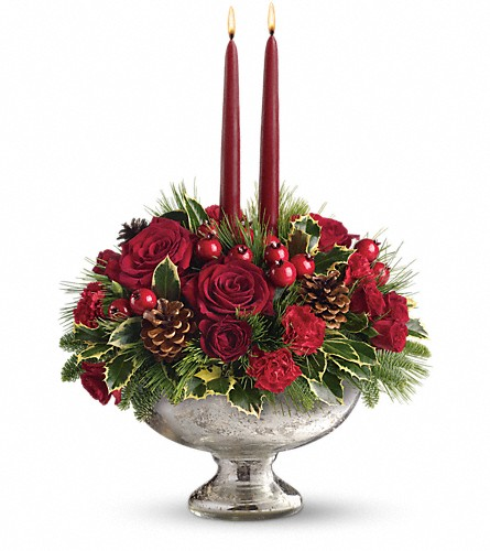 Teleflora's Mercury Glass Bowl Bouquet in Kent OH, Richards Flower Shop