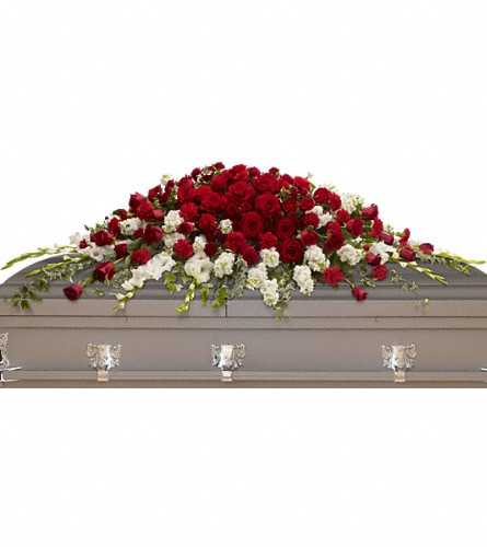 Garden of Grandeur Casket Spray in Bakersfield CA, White Oaks Florist